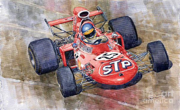 Watercolor Print featuring the painting March 711 Ford Ronnie Peterson Gp Italia 1971 by Yuriy Shevchuk