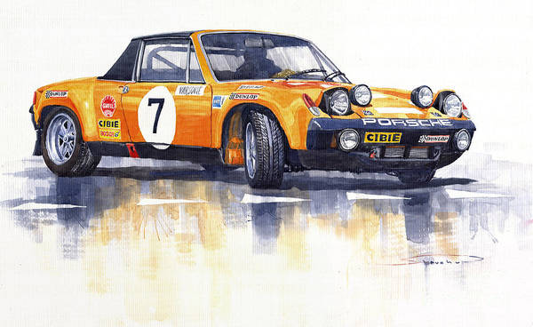 Watercolour Print featuring the painting Porsche 914-6 Gt Rally by Yuriy Shevchuk