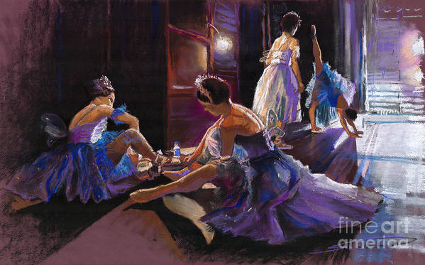 Pastel Print featuring the pastel Ballet Behind The Scenes by Yuriy Shevchuk