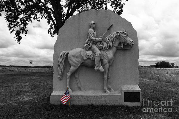 Gettysburg Print featuring the photograph 17th Pennsylvania Cavalry Monument Gettysburg by James Brunker