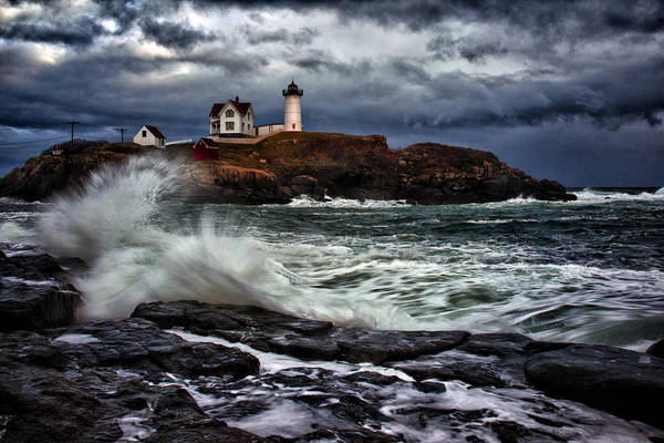 Maine Print featuring the photograph Autumn Storm At Cape Neddick by Rick Berk