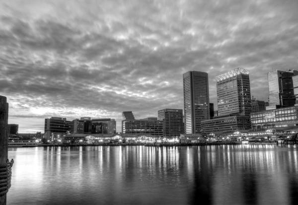 Baltimore Print featuring the photograph Baltimore In Black And White by JC Findley