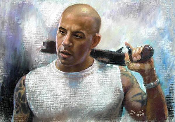 Vin Diesel Print featuring the pastel Vin Diesel by Ylli Haruni