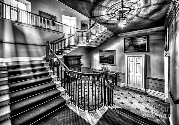 British Print featuring the photograph Mansion Stairway V2 by Adrian Evans