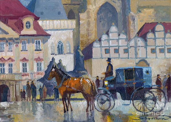 Oil On Canvas Print featuring the painting Prague Old Town Square 01 by Yuriy Shevchuk