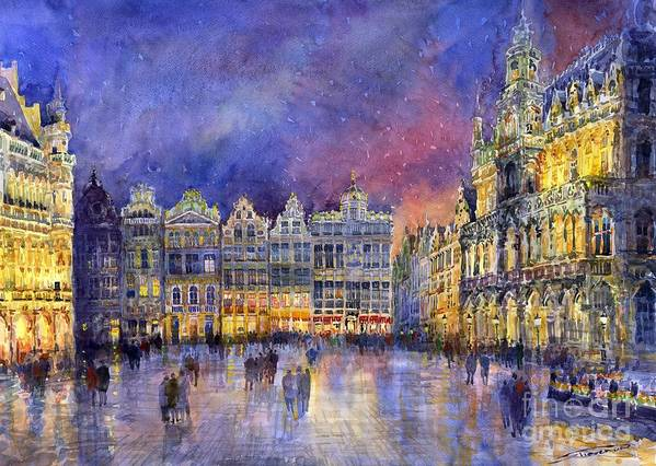 Watercolour Print featuring the painting Belgium Brussel Grand Place Grote Markt by Yuriy Shevchuk