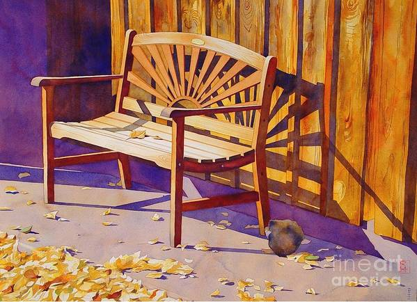 Watercolor Print featuring the painting Bench At Sharlot Hall by Robert Hooper