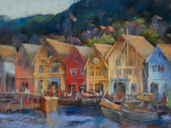 Bergen Norway Print featuring the painting Bergen Bryggen In The Early Morning by Joan Jones