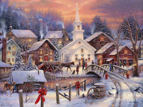 Snow Village Print featuring the painting Hope Runs Deep by Chuck Pinson