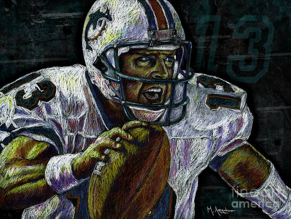 Dan Marino Print featuring the drawing Marino by Maria Arango