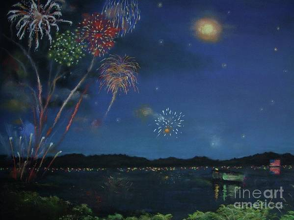 4th Of July Print featuring the pastel Starry Night At Crooked Creek Marina by Jackie Hill