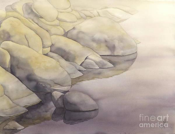 Watercolor Print featuring the painting Rock Meets Water by Robert Hooper