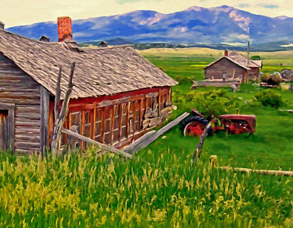 Montana Print featuring the painting Old Homestead Near Townsend Montana by Michael Pickett