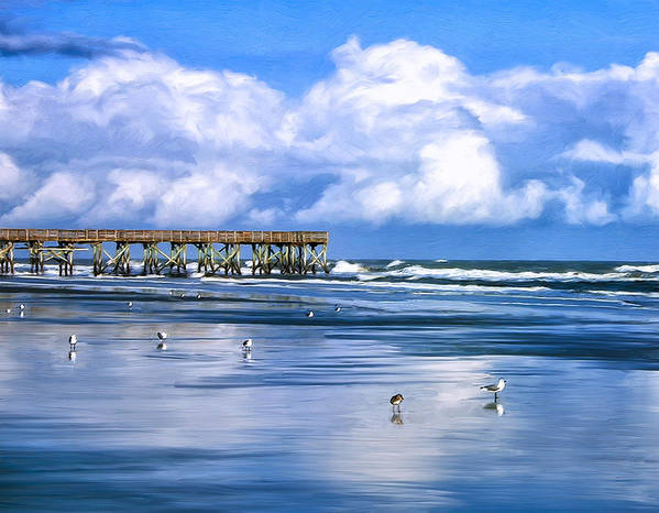 Isle Of Palms Print featuring the painting Beach At Isle Of Palms by Dominic Piperata