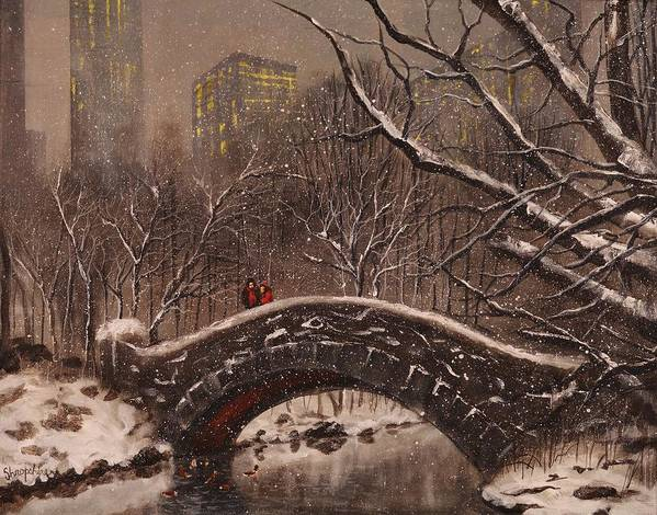 Snow Scene Print featuring the painting Bridge In Central Park by Tom Shropshire