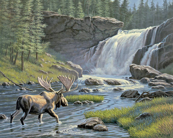 Wildlife Print featuring the painting Moose Falls by Paul Krapf