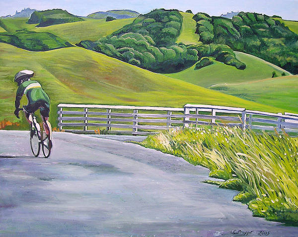 Bike Print featuring the painting Hicks Valley Bike Ride by Colleen Proppe