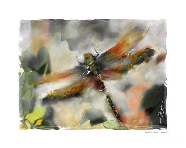 Impressionism Print featuring the painting Dragonfly Garden by Bob Salo