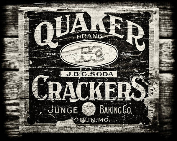 Quaker Crackers Print featuring the photograph Quaker Crackers Rustic Sign For Kitchen In Black And White by Lisa Russo