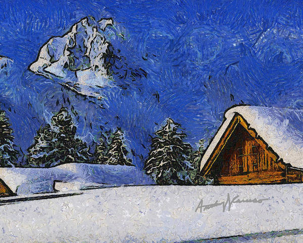 Chalet Print featuring the painting Snow Covered by Anthony Caruso