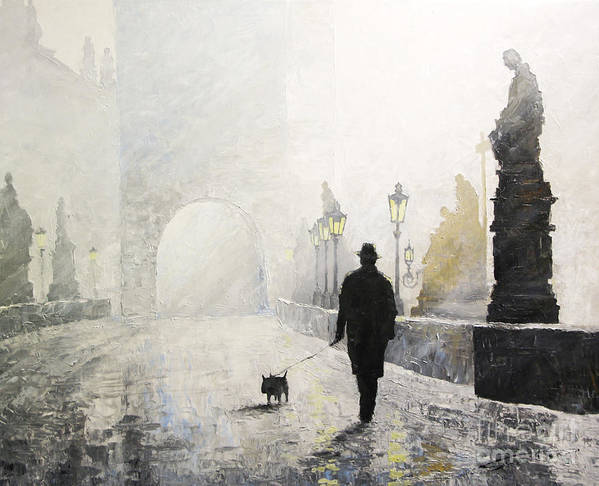 Oil On Canvas Print featuring the painting Prague Charles Bridge Morning Walk 01 by Yuriy Shevchuk