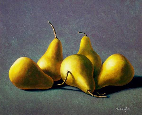 Still Life Print featuring the painting Five Golden Pears by Frank Wilson