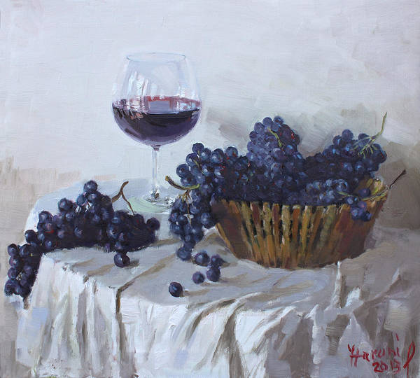 Blue Grapes Print featuring the painting Blue Grapes And Wine by Ylli Haruni