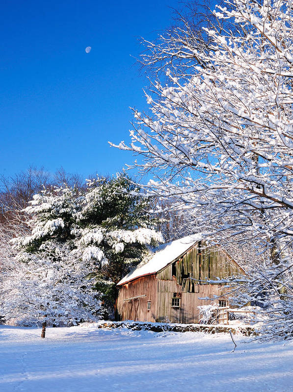 Barn Print featuring the photograph Winter Barn Scene-warren Ct by Thomas Schoeller