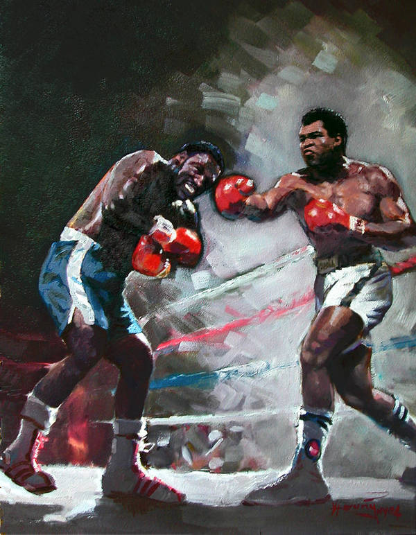 Muhammad Ali Print featuring the painting Muhammad Ali And Joe Frazier by Ylli Haruni