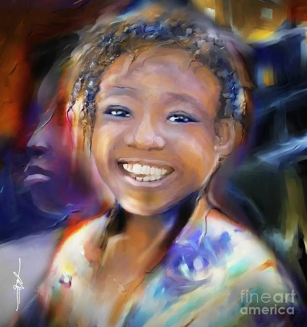 Portrait Print featuring the painting Returning A Smile by Bob Salo