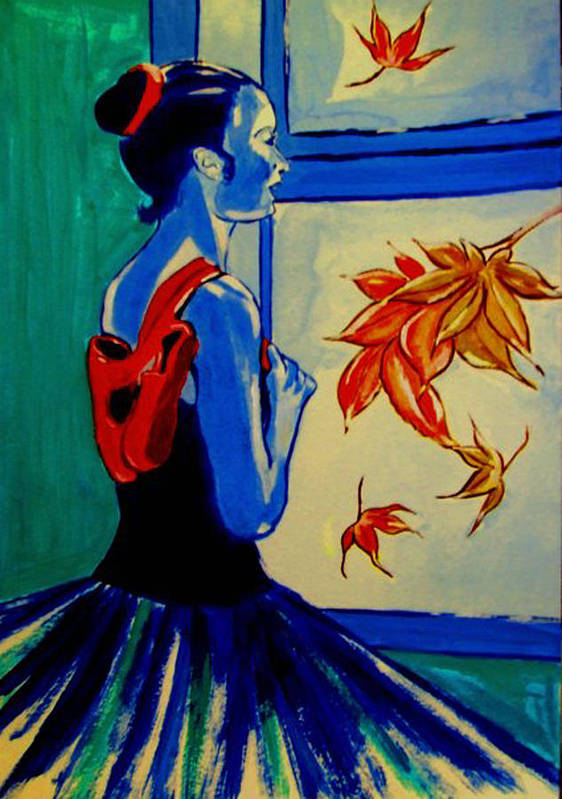 Classical Dancers Print featuring the painting Ballerine En Automne by Rusty Woodward Gladdish