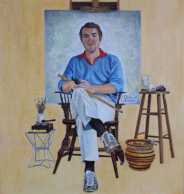 Portraiture Print featuring the painting A Rockwell Tribute by Michael Lewis