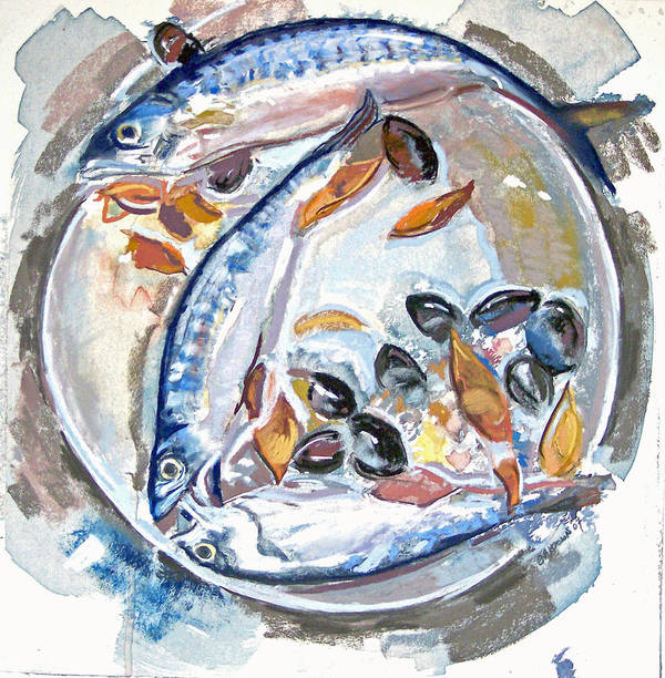 Still Life Print featuring the pastel Mackerel Mussels Leaves by Grace Keown