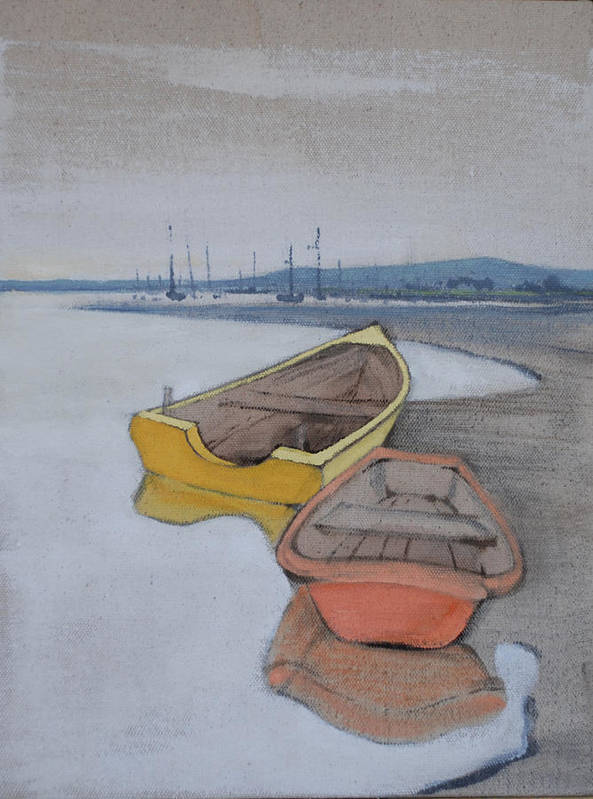Reflection Blue Boat Boats Harbor Dingy Sailing Sea Ocean Print featuring the painting Yellow Boat 1 by Amy Bernays