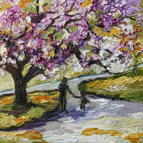 Trees Print featuring the painting Cherry Blossom Tree Walk In The Park by Ginette Callaway