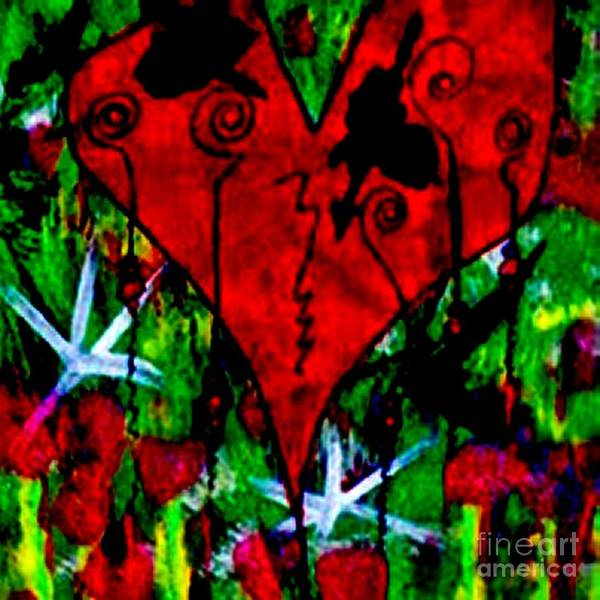 Oh My Pink Heart Print featuring the painting Oh My Pink Heart by Donna Daugherty