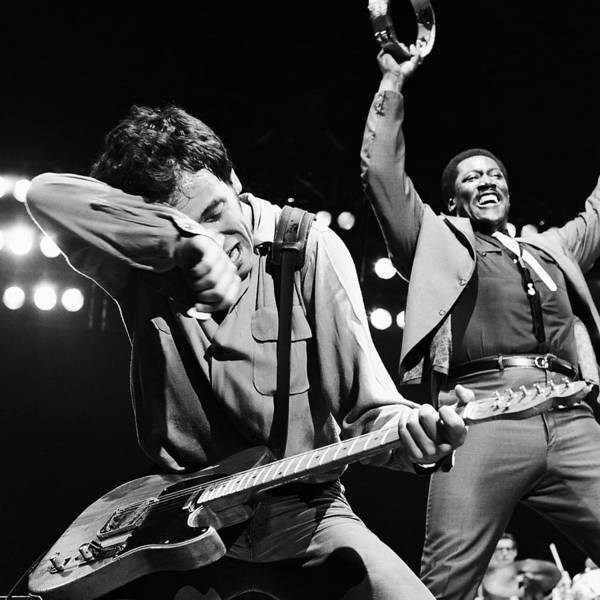 Bruce Springsteen Print featuring the photograph The Boss And The Big Man by Chris Walter