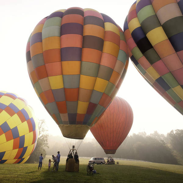 Asheville Hotair Balloons Print featuring the photograph Balloon Day Is A Happy Day by Rob Travis