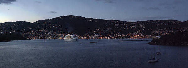 Charlotte Amalie Print featuring the photograph Charlotte Amalie At Dusk by Gary Lobdell