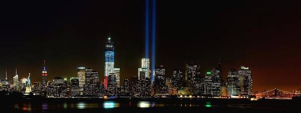 9-11 Print featuring the photograph Tribute In Light From Bayonne by Nick Zelinsky