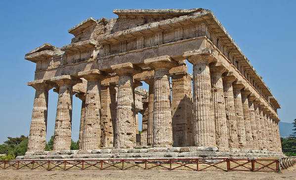 Archaeology Print featuring the photograph Paestum Temple by Paolo Modena