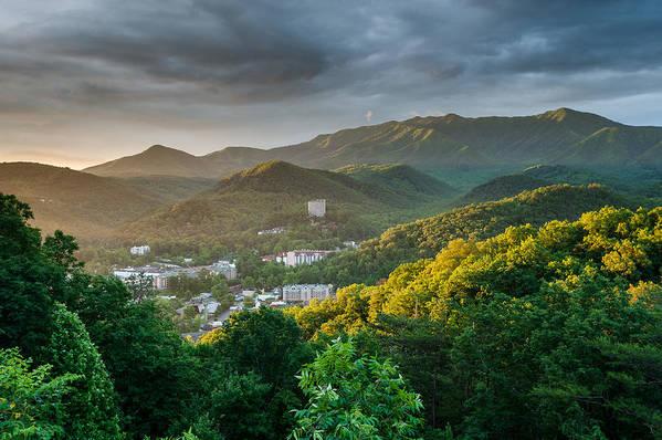 Gatlinburg Print featuring the photograph Gatlinburg Tennessee Great Smoky Mountain Sunrise by Mark VanDyke