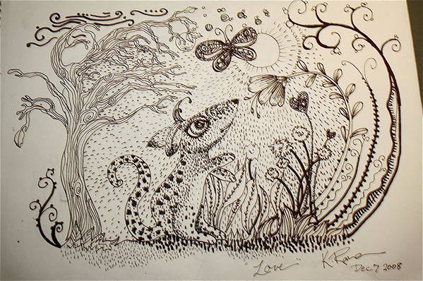 Pen Ink Nature Black White Print featuring the ceramic art Mouse by Kathleen Raven