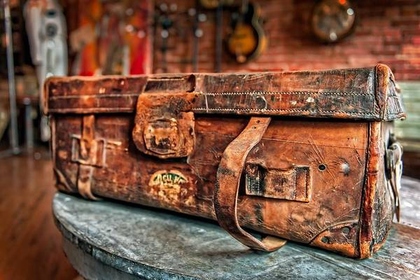 Leather Print featuring the photograph Rustic Trunk by Brett Engle