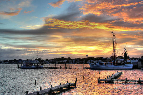 North Carolina Print featuring the photograph Shrimp Boats At Sunset by Benanne Stiens