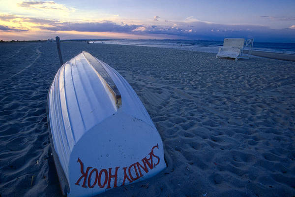 Beach Print featuring the photograph Boat On The New Jersey Shore At Sunset by George Oze