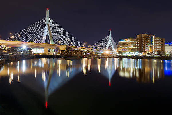 Boston Photographs Photographs Print featuring the photograph Boston Zakim Memorial Bridge Nightscape II by Shane Psaltis