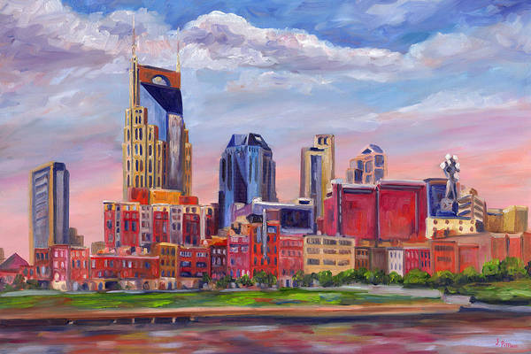 Nashville Skyline Print featuring the painting Nashville Skyline Painting by Jeff Pittman