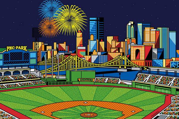 Pnc Park Print featuring the digital art Pnc Park Fireworks by Ron Magnes