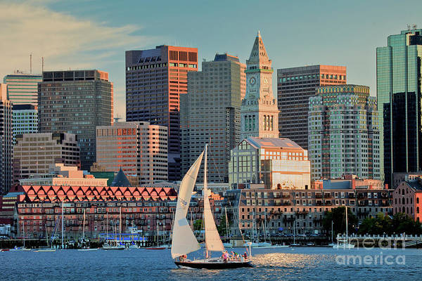 Boat Print featuring the photograph Sunset Sails On Boston Harbor by Susan Cole Kelly